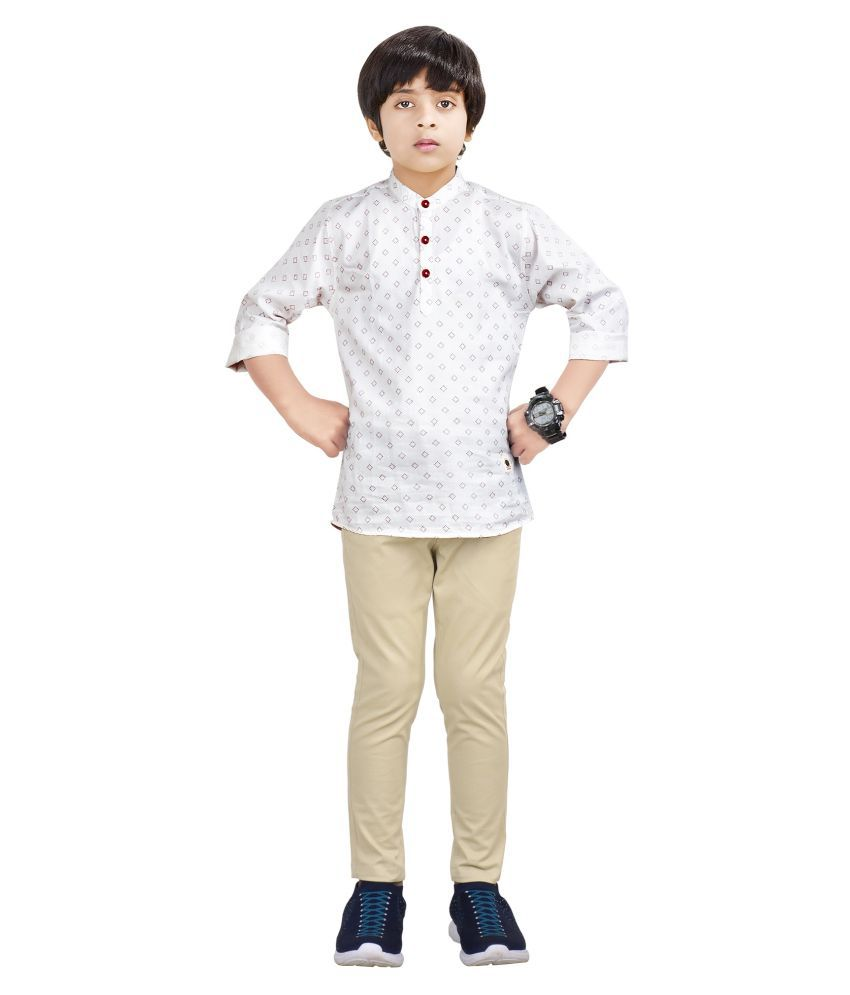 Made In The Shade Boy's Cotton Kurta And Cotton Adjustable Trouser