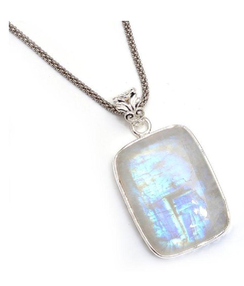 Natural MOONSTONE Stone 6.5 Ratti 100 % Certified silver Pendant By  Ratan Bazaar
