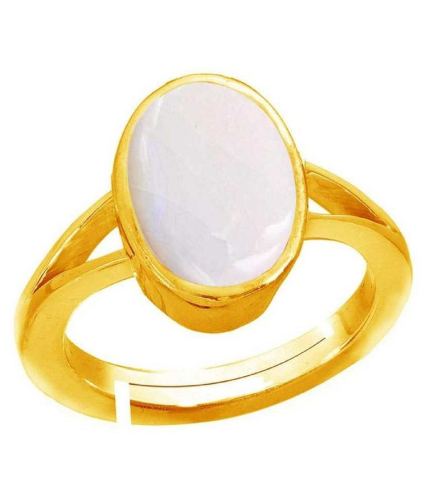 Natural & Unheated Stone OPAL Stone 10 Ratti Gold Plated Ring by Kundli Gems