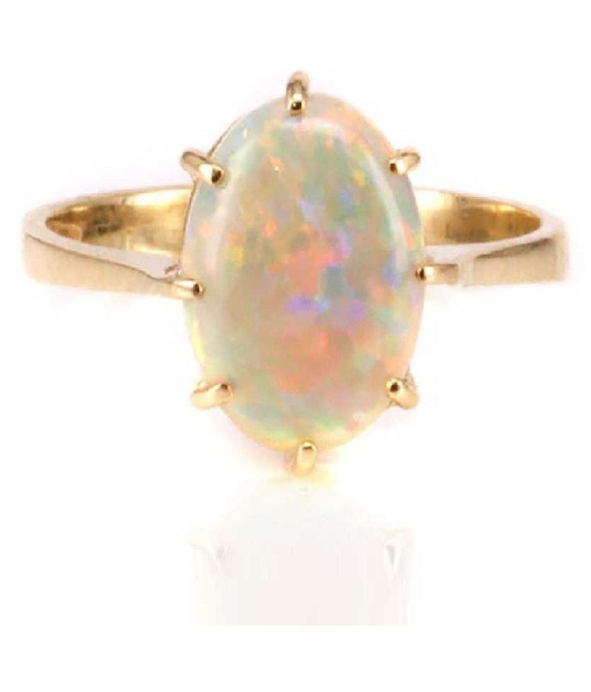 OPAL ADJUSTABLE gold plated RING WITH NATURAL AND CERTIFIED 10.25 RATTI By Kundli Gems