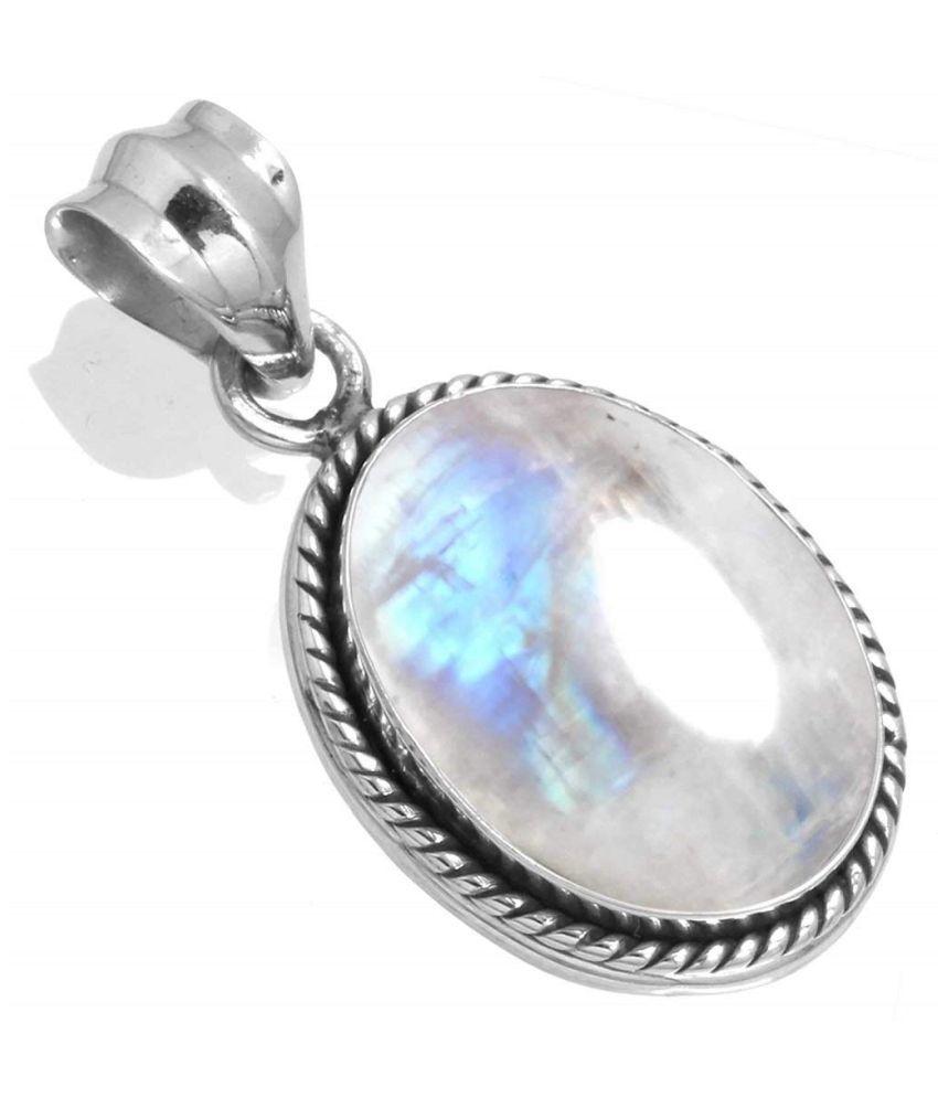 Silver MOONSTONE  Stone Pendant 6.5 carat by   Ratan Bazaar