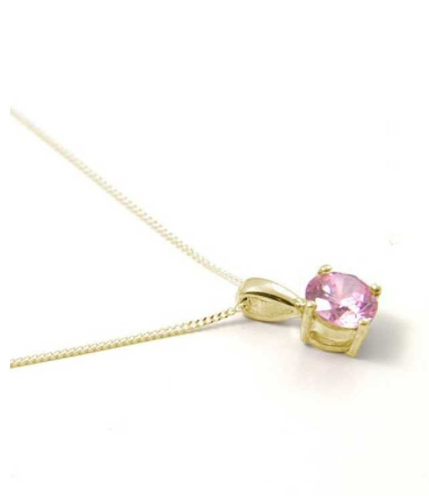 Pink Sapphire Astrological Stone 2.25 Ratti Certified Gold Plated Pendant by Kundli Gems