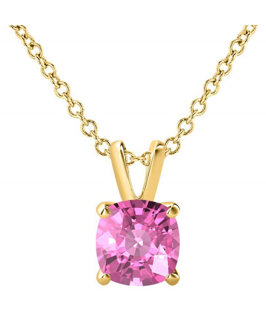 Pink Sapphire Pendant with 100% Original Lab Certified Stone 2.25 Ratti gold plated Pendant by Kundli Gems