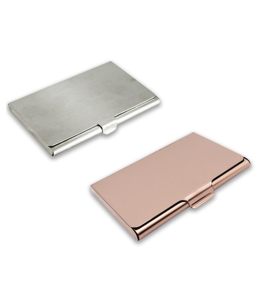 auteur A13-45  Multicolor Artificial Leather Professional Looking Visiting Card Holders for Men and Women Set of 2 (upto 15 Cards Capacity)