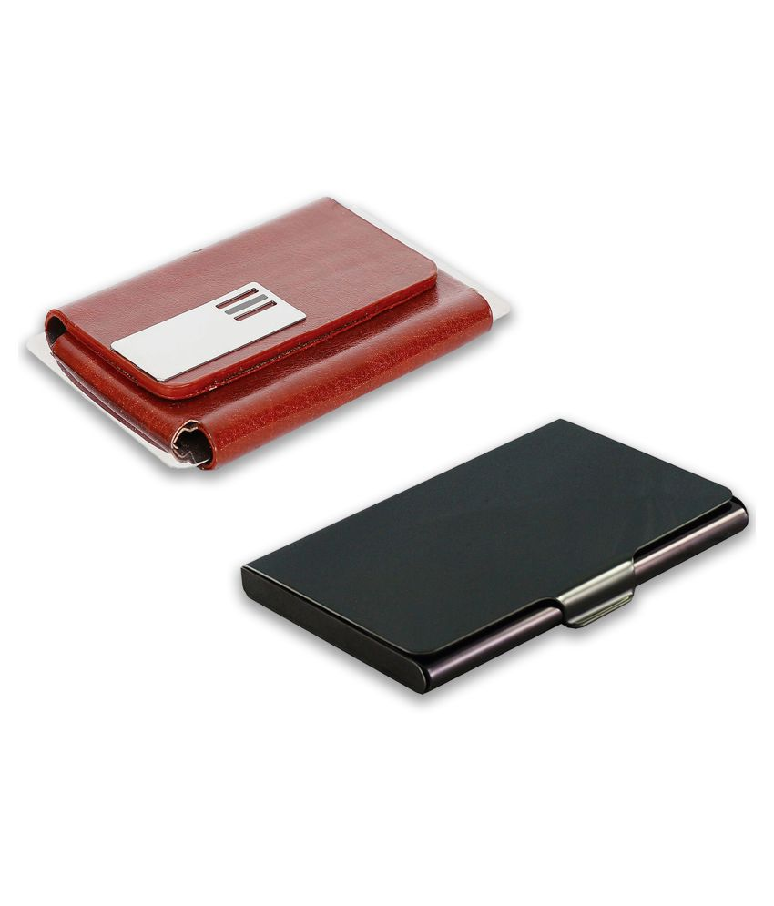auteur A14-43  Multicolor Artificial Leather Professional Looking Visiting Card Holders for Men and Women Set of 2 (upto 15 Cards Capacity)