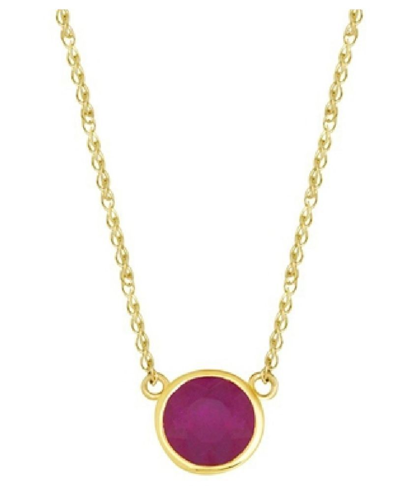 3.25 Ratti Lab Certified Stone 100% Original Pink Sapphire  Gold Plated Pendant for unisex by Kundli Gems\n