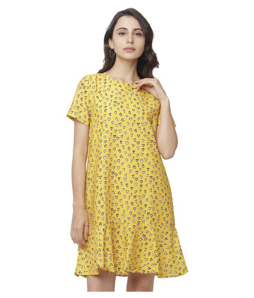 Globus Cotton Yellow A- line Dress