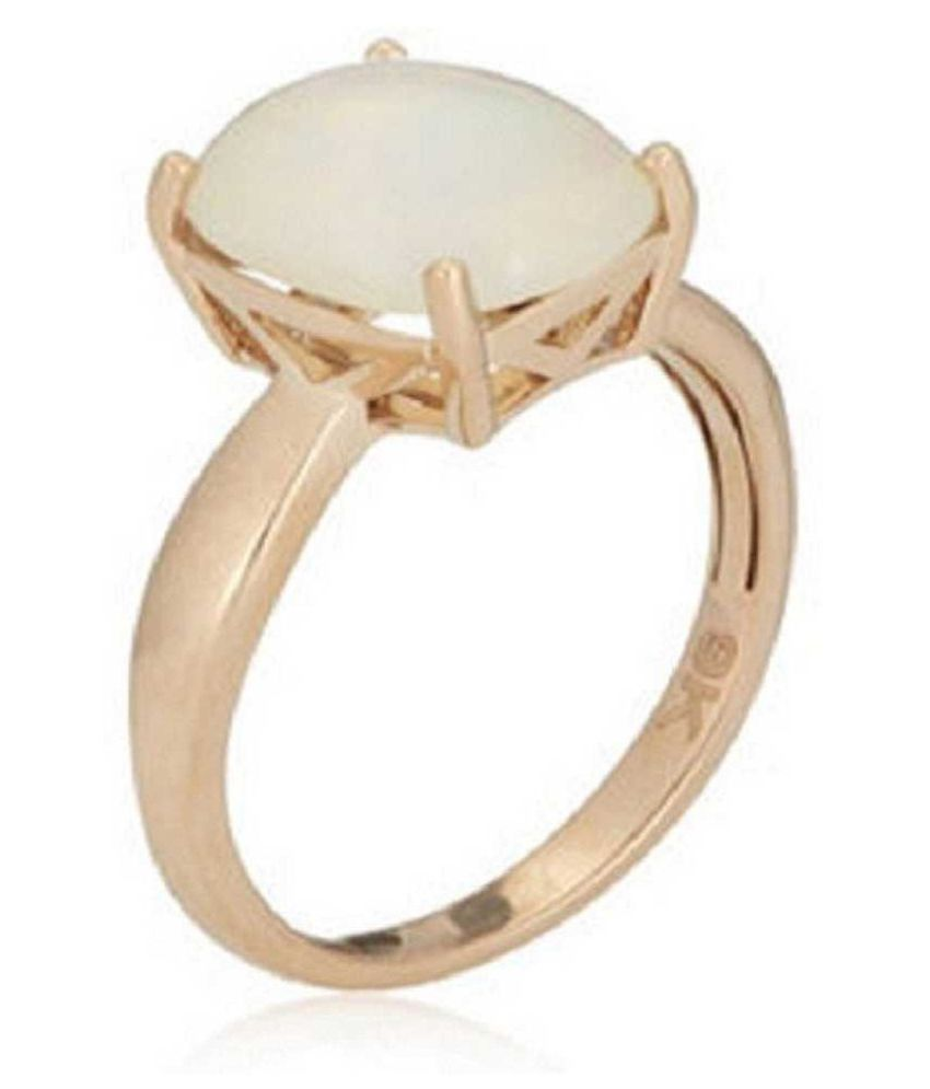 OPAL Ring with  Original 5.5 Ratti Lab Certified Stone Gold Plated Ring by Ratan Bazaar