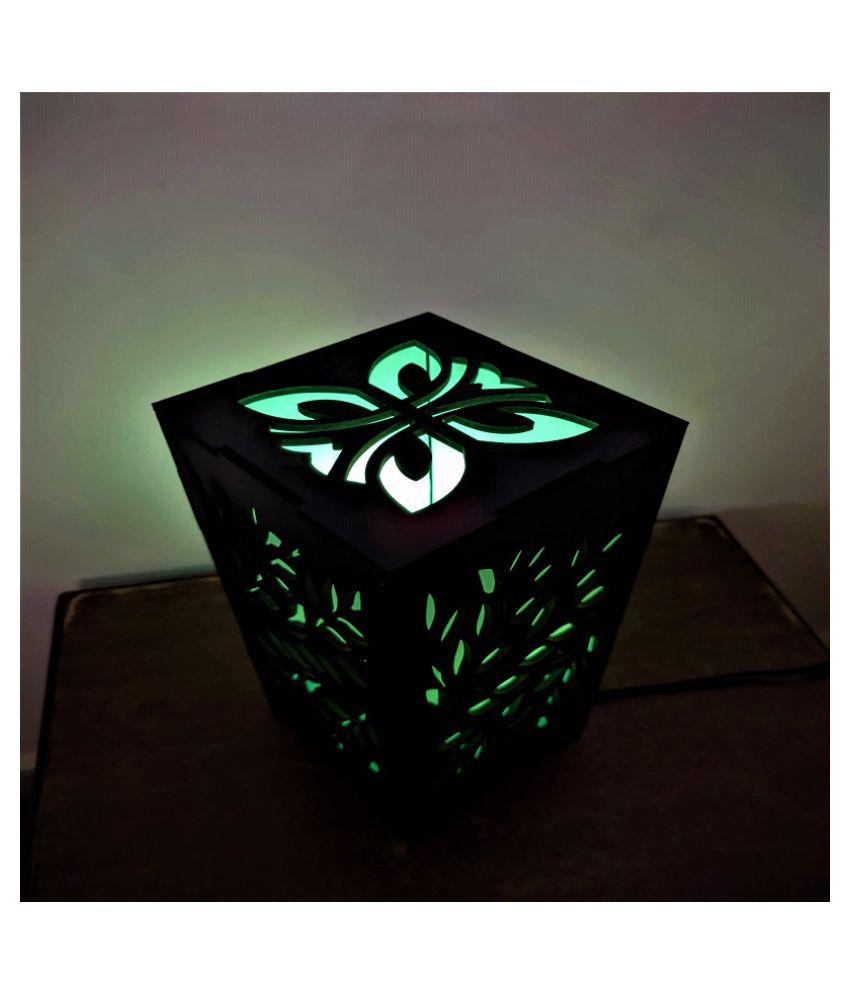 Decor Wooden Leaf Design Night Lamp Green - Pack of 1