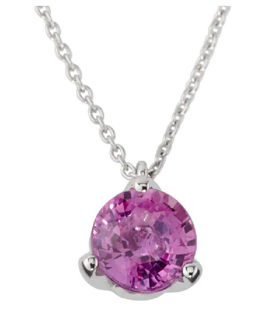 Sterling Silver 7 Carat Classic Pink Sapphire  Pendant by Kundli Gems