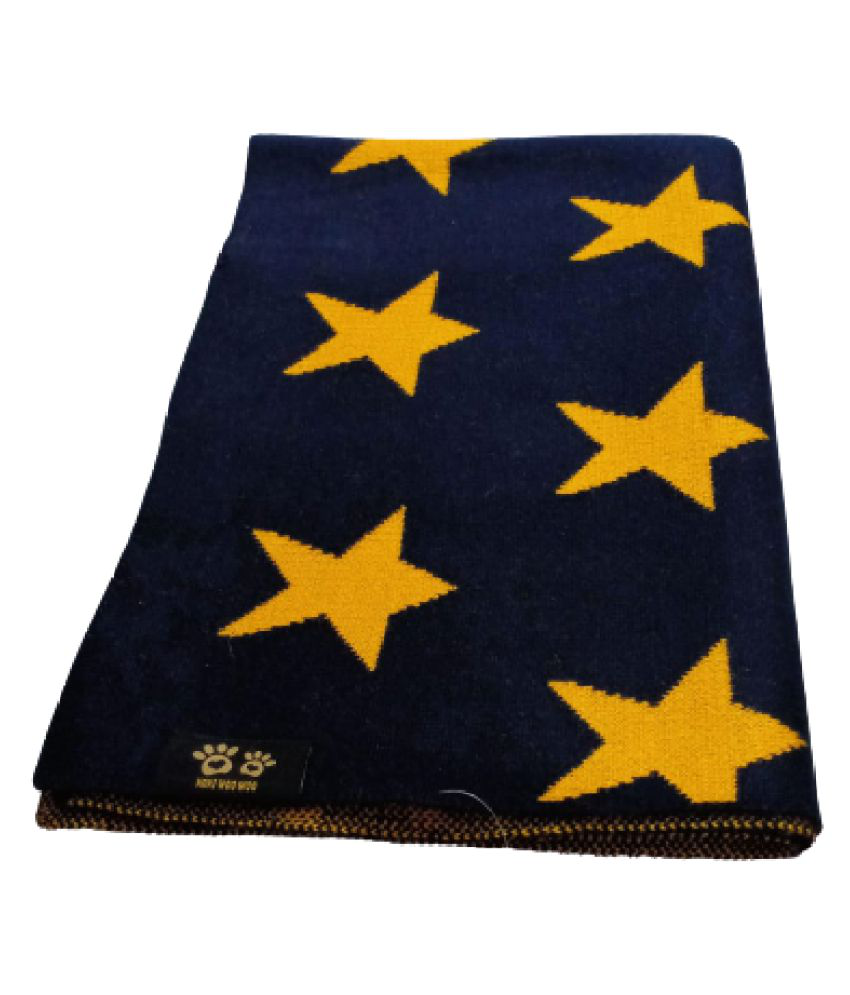 KOKIWOOWOO Soft and Cozy Dog Woolen Blanket Navy Blue with Yellow Star