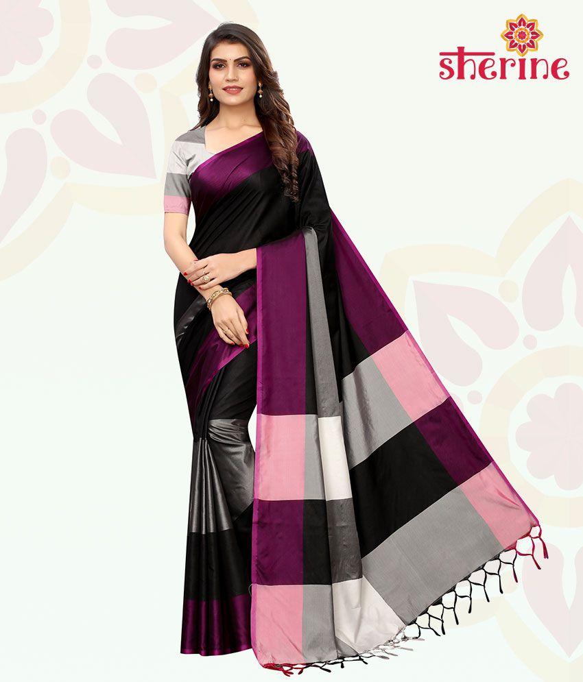 Sherine Black Printed Saree with Blouse Piece