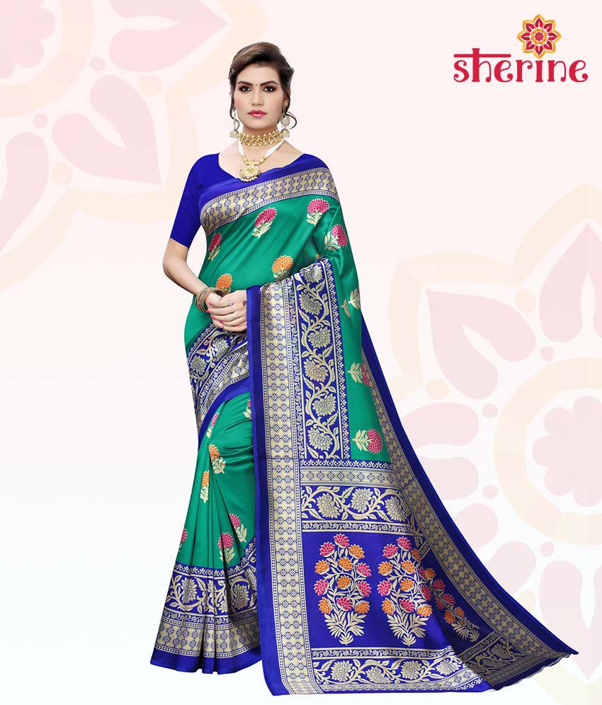 Sherine Blue, Green Printed Saree with Blouse Piece
