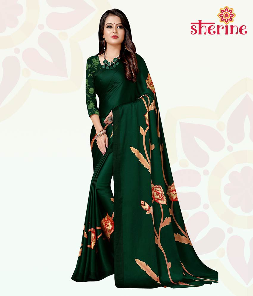 Sherine Green Printed Saree with Blouse Piece (Fabric- Poly Crepe)