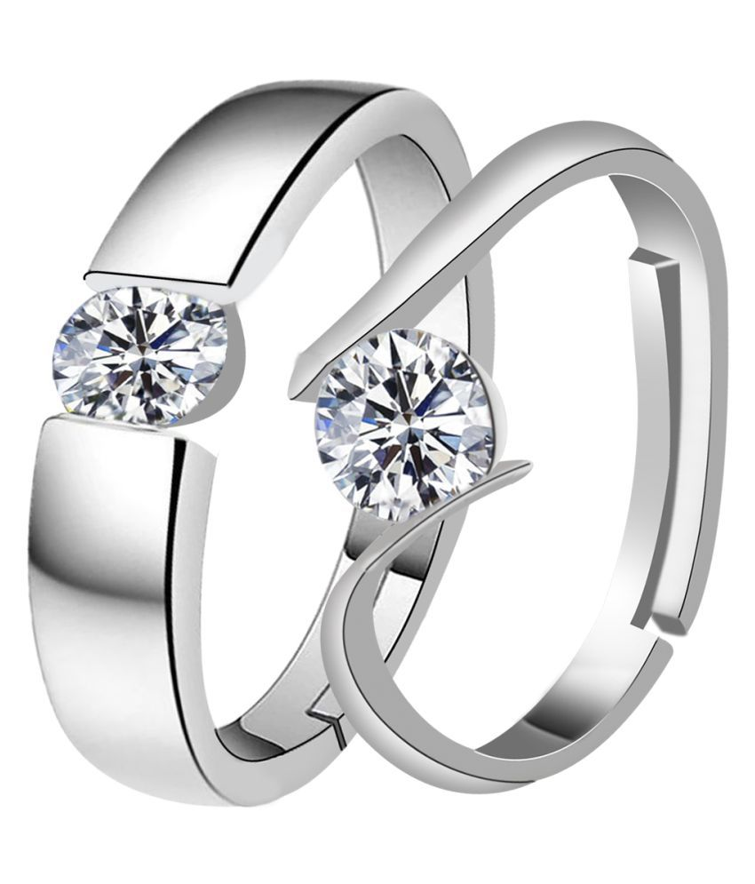 Silverplated round Solitaire His and Her Adjustable proposal couple ring For Men And Women Jewellery