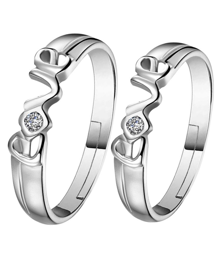 Silverplated square and Round Solitaire His and Her Adjustable proposal Diamond couple ring For Men And Women Jewellery