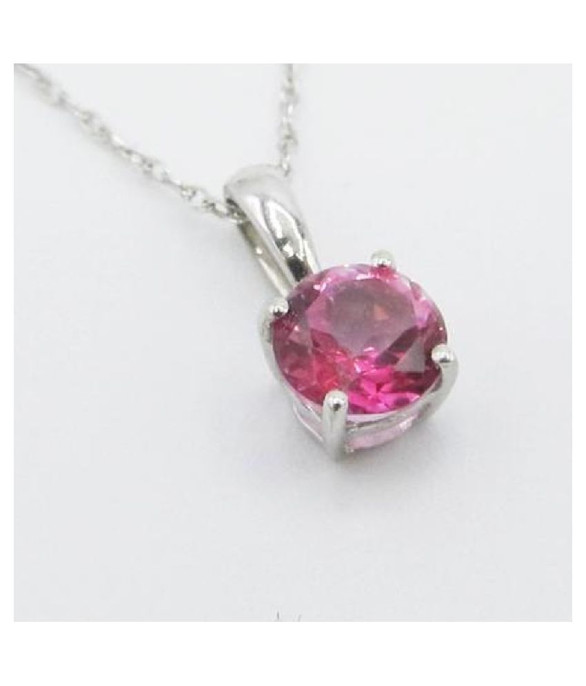 12.25 Carat  Pink Sapphire   Pendant with lab Report silver Pink Sapphire  Stone by Kundli Gems