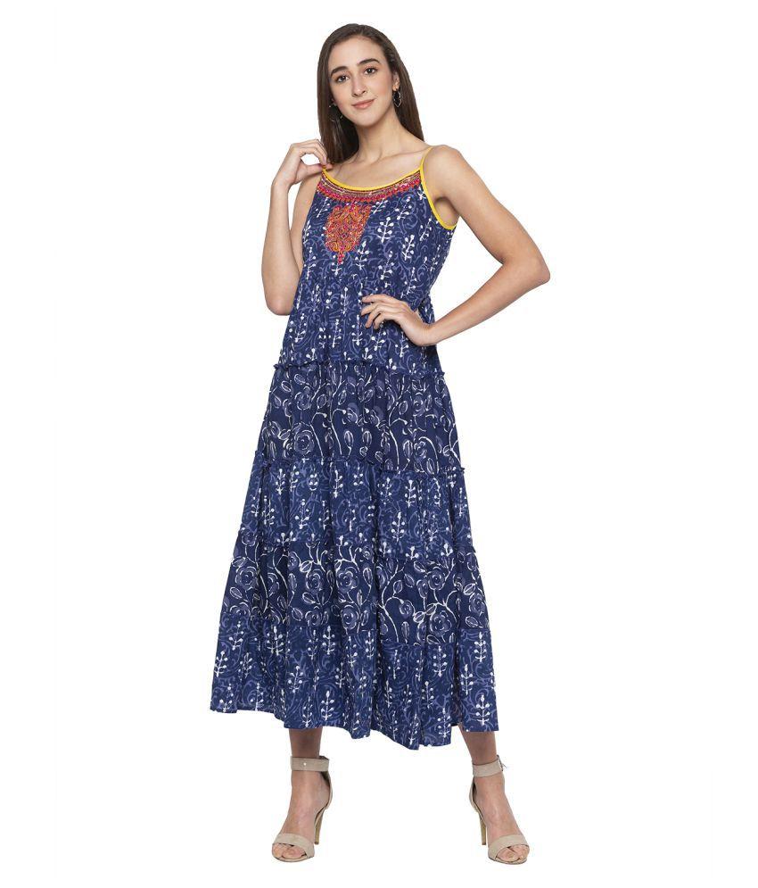 Globus Cotton Blue A- line Dress