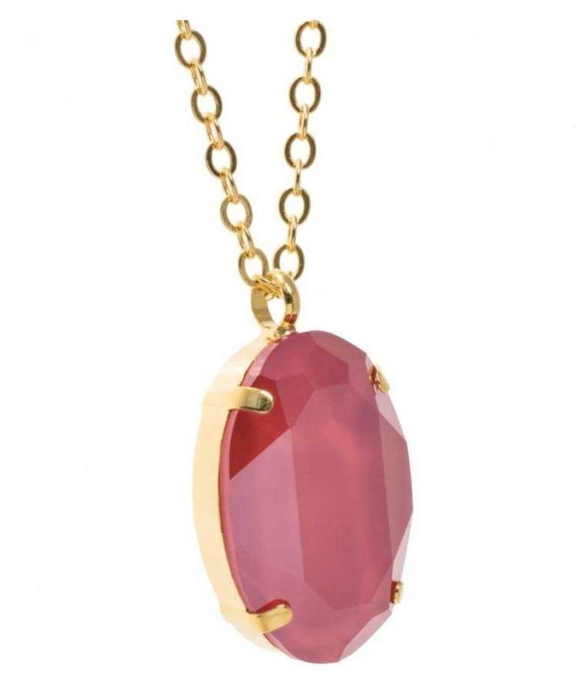 Natural & Unheated Stone Pink Sapphire Stone 12.5 Ratti Gold Plated Pendant by Kundli Gems