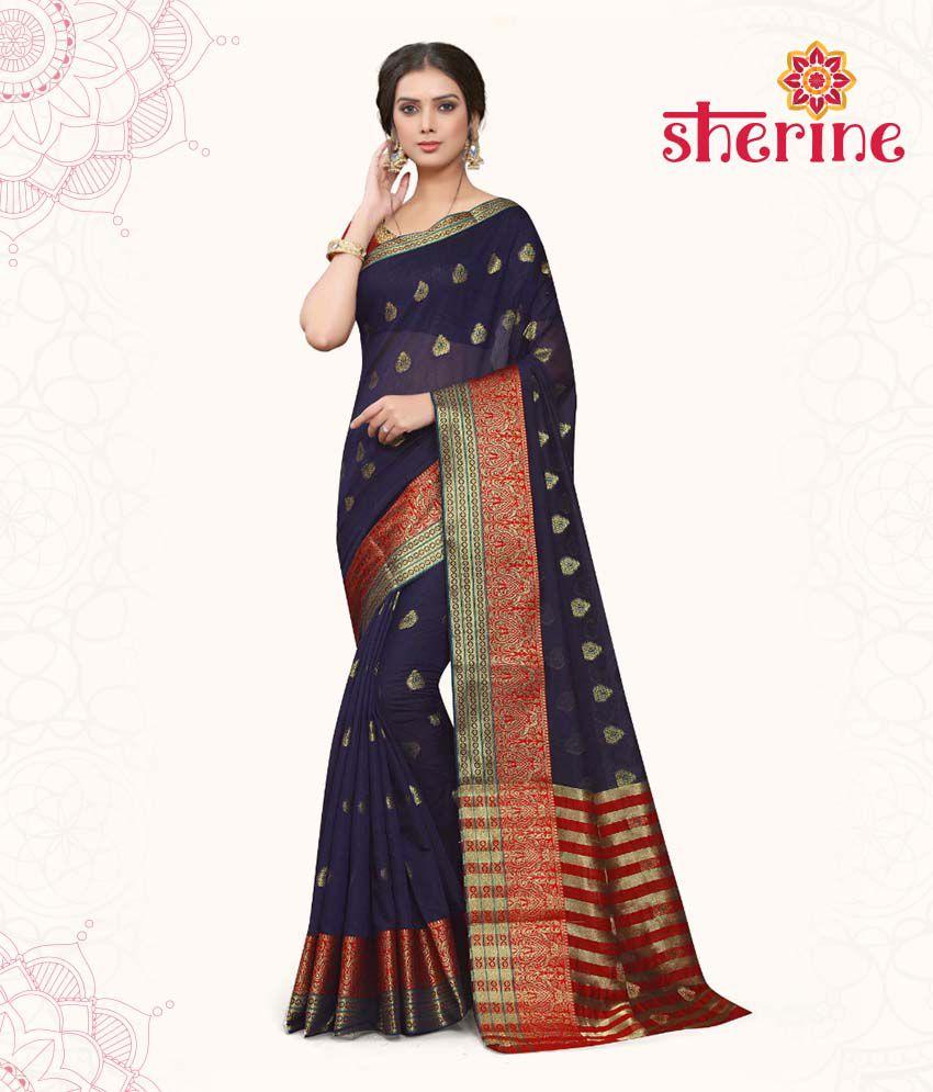 Sherine Navy Blue Saree (Fabric- Poly Cotton)