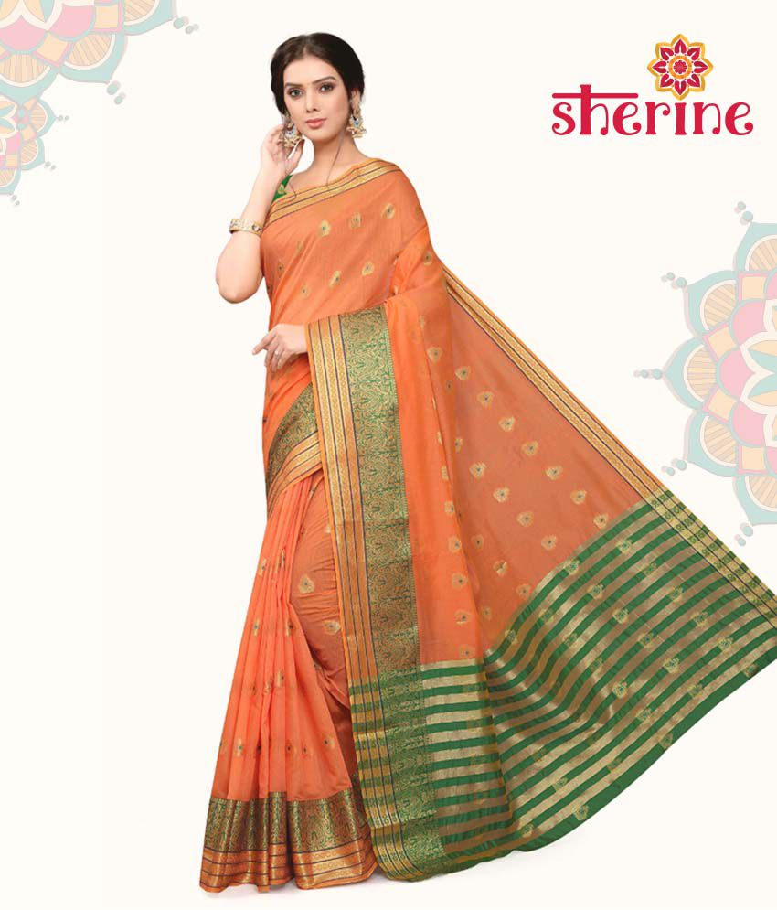Sherine Orange Cotton Saree