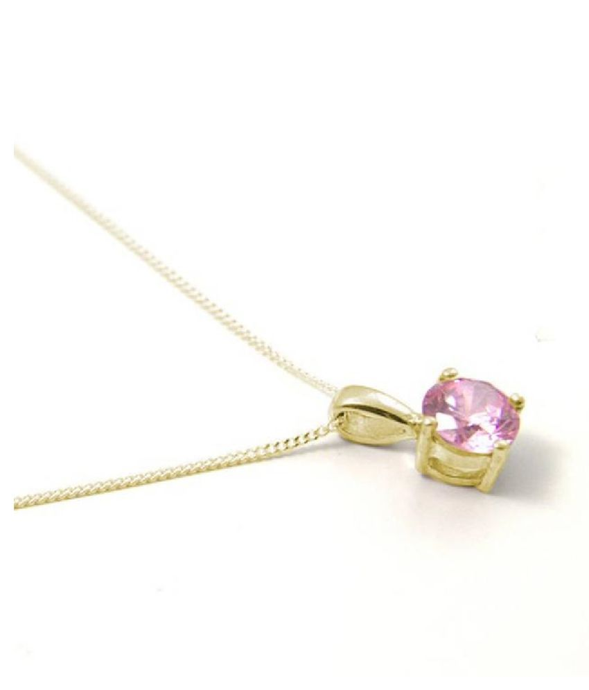 5.25 Ratti Pink Sapphire  pure Gold Plated Pendant for Unisex by  Ratan Bazaar\n