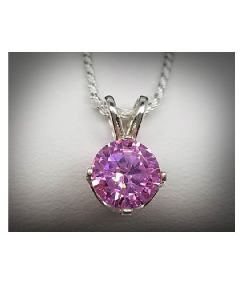 9.25 ratti Natural Lab certified Stone silver Pink Sapphire  Pendant by  Ratan Bazaar\n