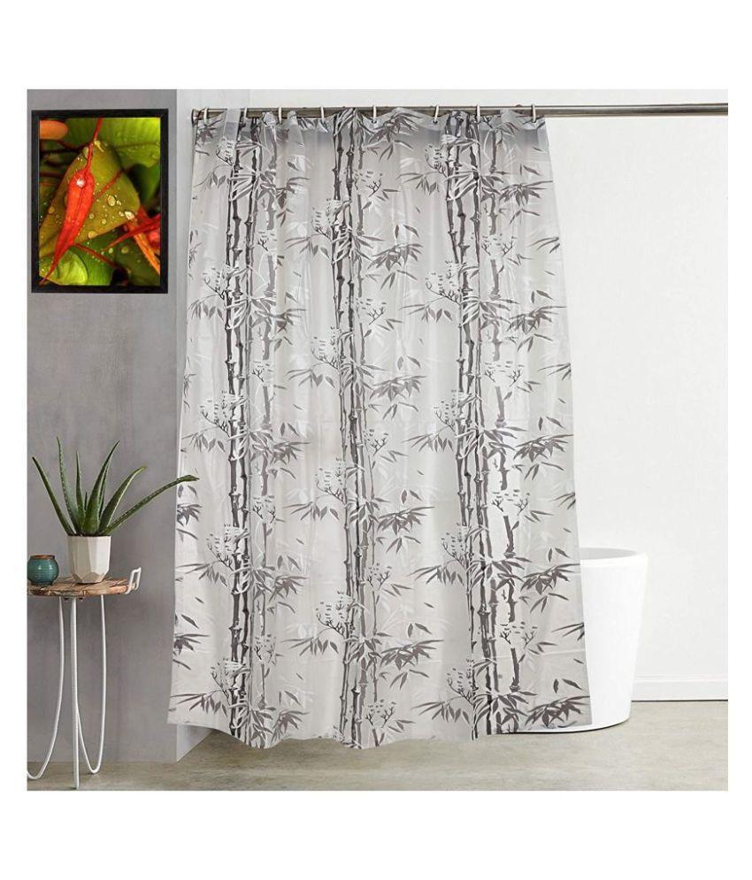 Fabfurn Single Door Semi-Transparent Ring Rod PVC AC Curtains Grey