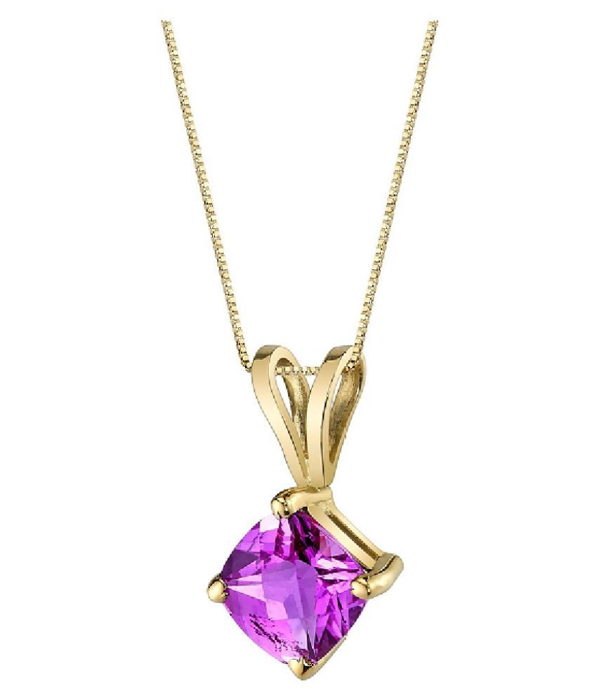Natural Pink Sapphire Stone Lab Certified Gold Plated 4.25 Carat  Pendant BY Ratan Bazaar
