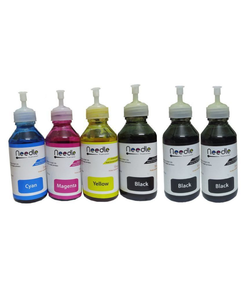 Needle Epson T664 Printer Multicolor Pack of 6 Ink bottle for Compatible L1300, L100, L130, L210, L220, L310, L360, L361, L380,L385,L405,L465,L485,L56