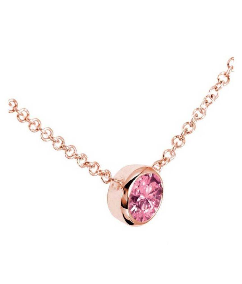 Pink Sapphire Pendant Stone 6.25 Ratti Gold plated Pendant Natural Stone By Ratan Bazaar