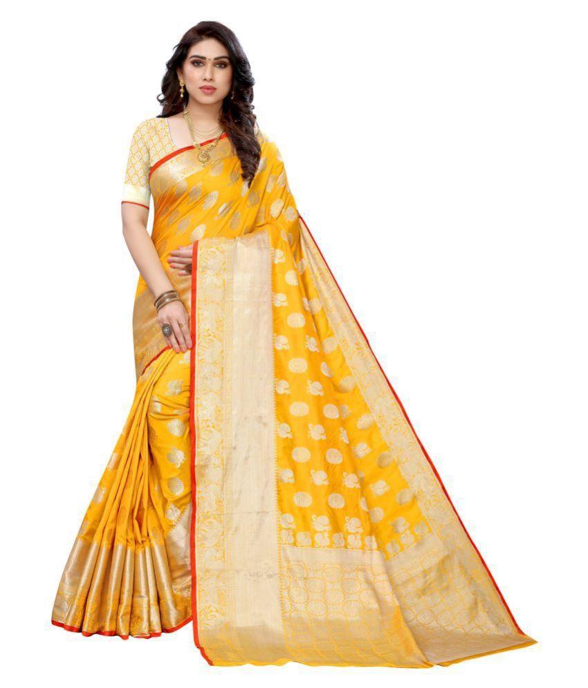 Sherine Yellow Jacquard Saree with Blouse Piece
