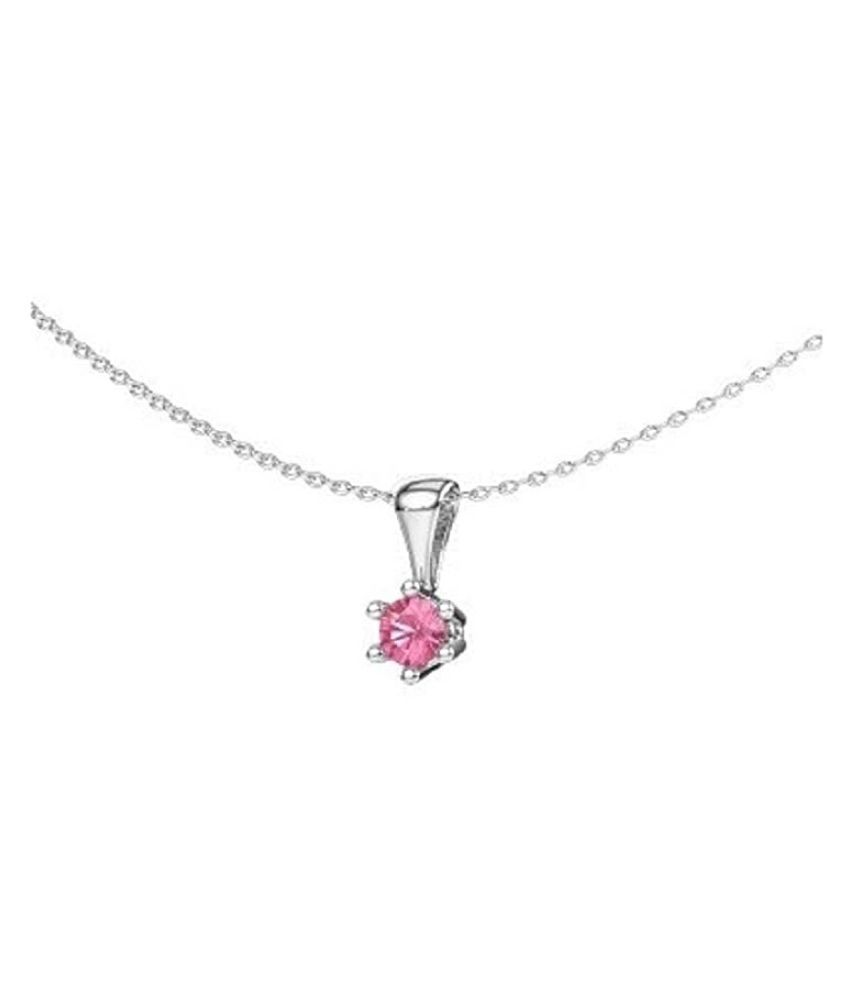 12.5 ratti stone pure Pink Sapphire  Silver Pendant for unisex by   Ratan Bazaar\n