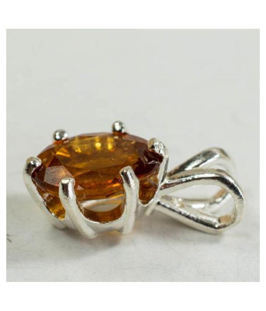 5.5 ratti stone pure Hessonite (Gomed)  silver  Pendant for unisex by Ratan Bazaar\n