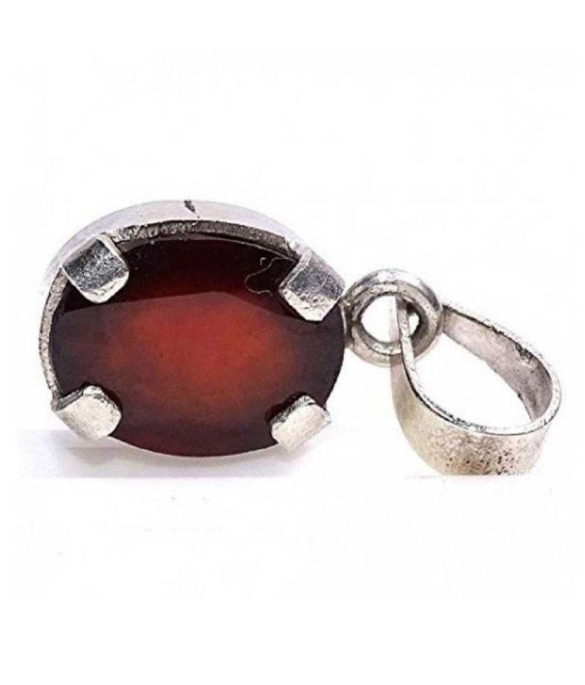 6.25 ratti stone pure Hessonite (Gomed)  silver Pendant for unisex by Ratan Bazaar\n