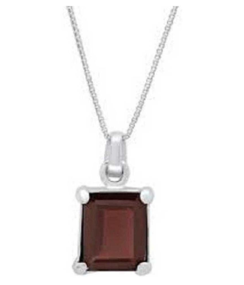 6 Ratti Hessonite (Gomed)  Pendant with Natural Silver Hessonite (Gomed)  Stone by Ratan Bazaar