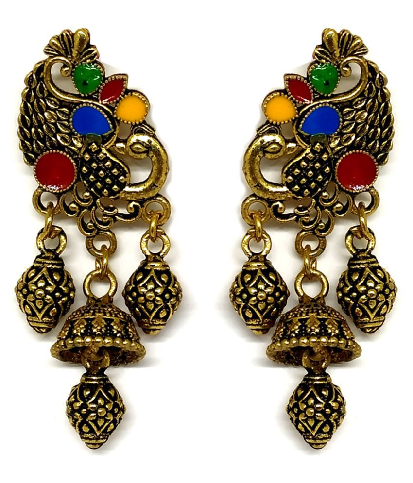 FAVE Fashion Jewellery Earring 3 drop jhumka with peacock motif  EARRING, Golden Oxidised Finish with multi-colour enamel work.