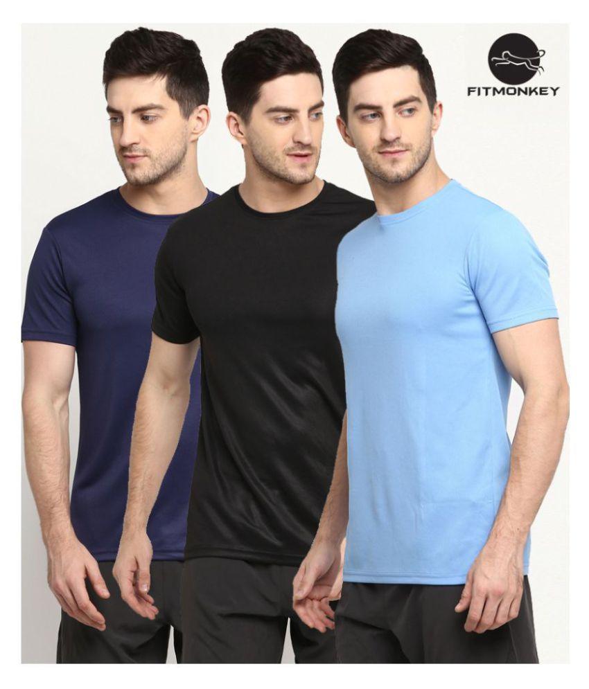 FITMonkey Black, Navy & Sky Blue Polyester Regular Fit Sport T-Shirts for Men - Pack of 3
