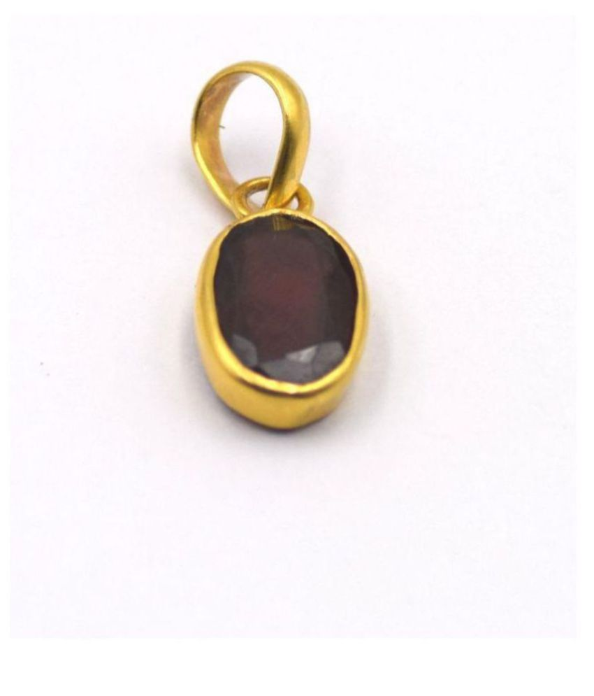 Hessonite (Gomed) Pendant 5.25 Carat natural and Gemstone Gold Plated Pendant by Ratan Bazaar