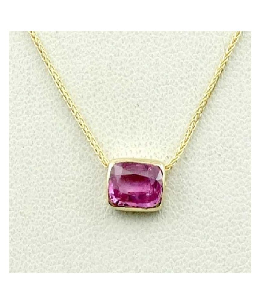 Pink Sapphire Pendant with  Original 12 Ratti Lab Certified Stone Gold Plated Pendant by  Ratan Bazaar
