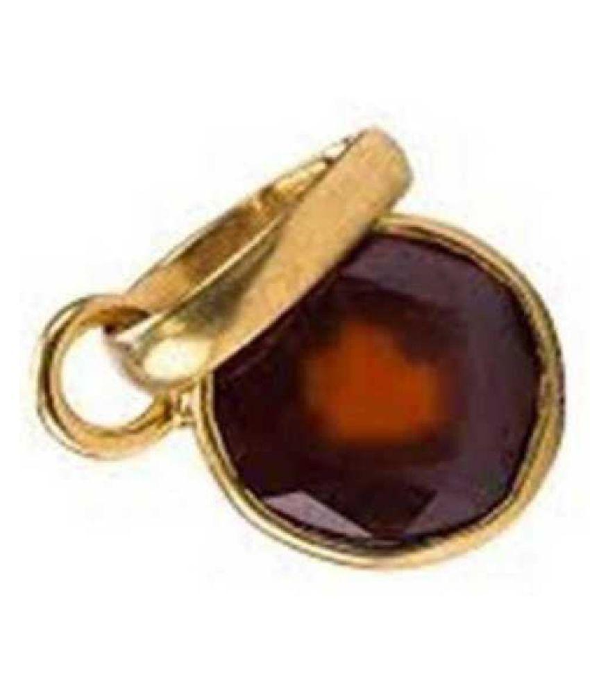 10.25 Carat 10.250 Original Certified Stone Hessonite (Gomed) Gold Plated Pendant By Ratan Bazaar