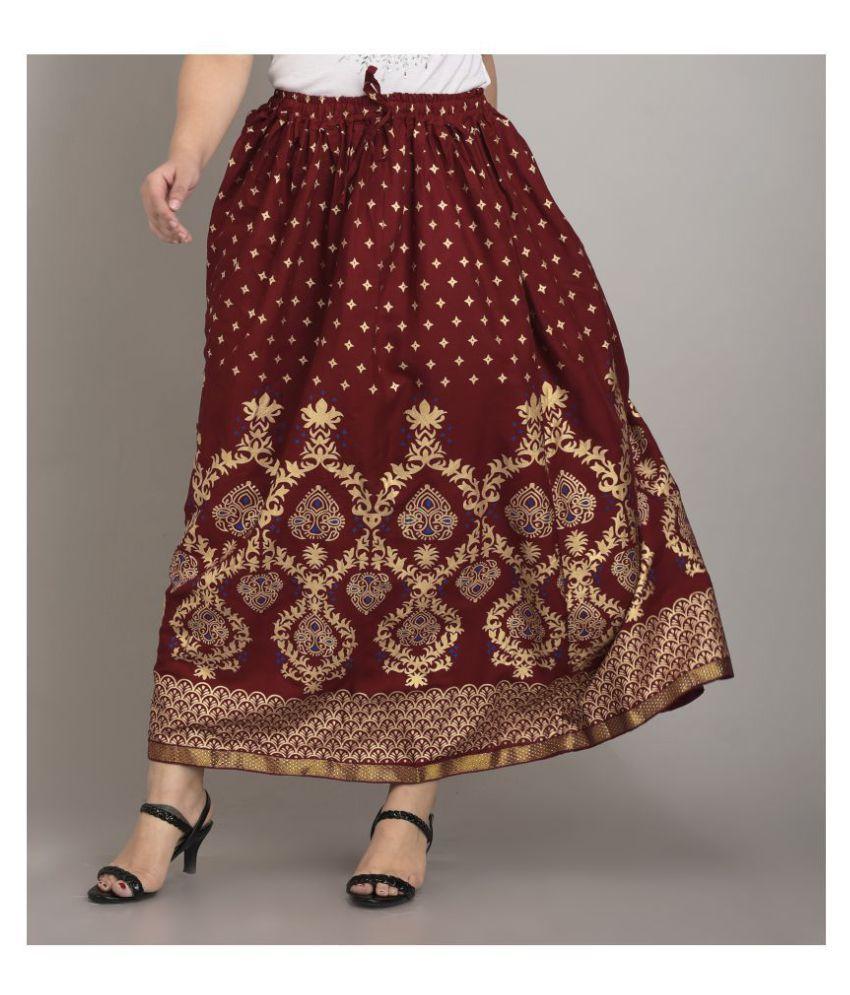Girly Girls Rayon A-Line Skirt - Maroon