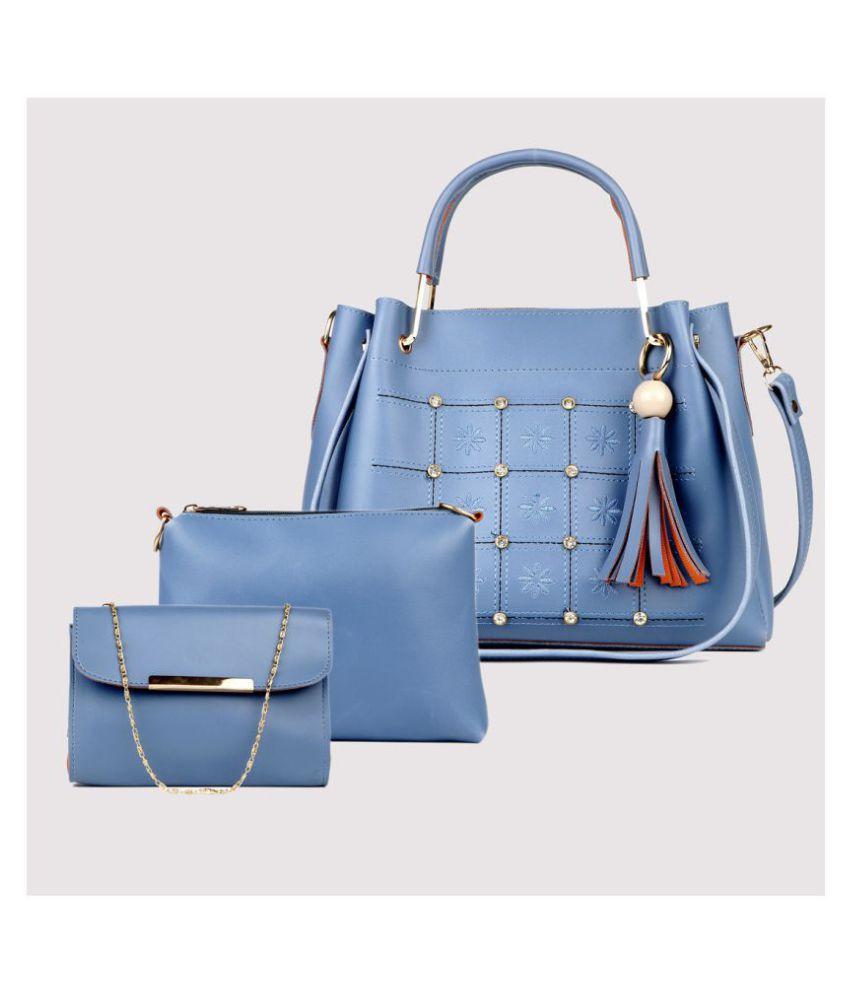 Lychee Bags Blue P.U. Handbags Accessories