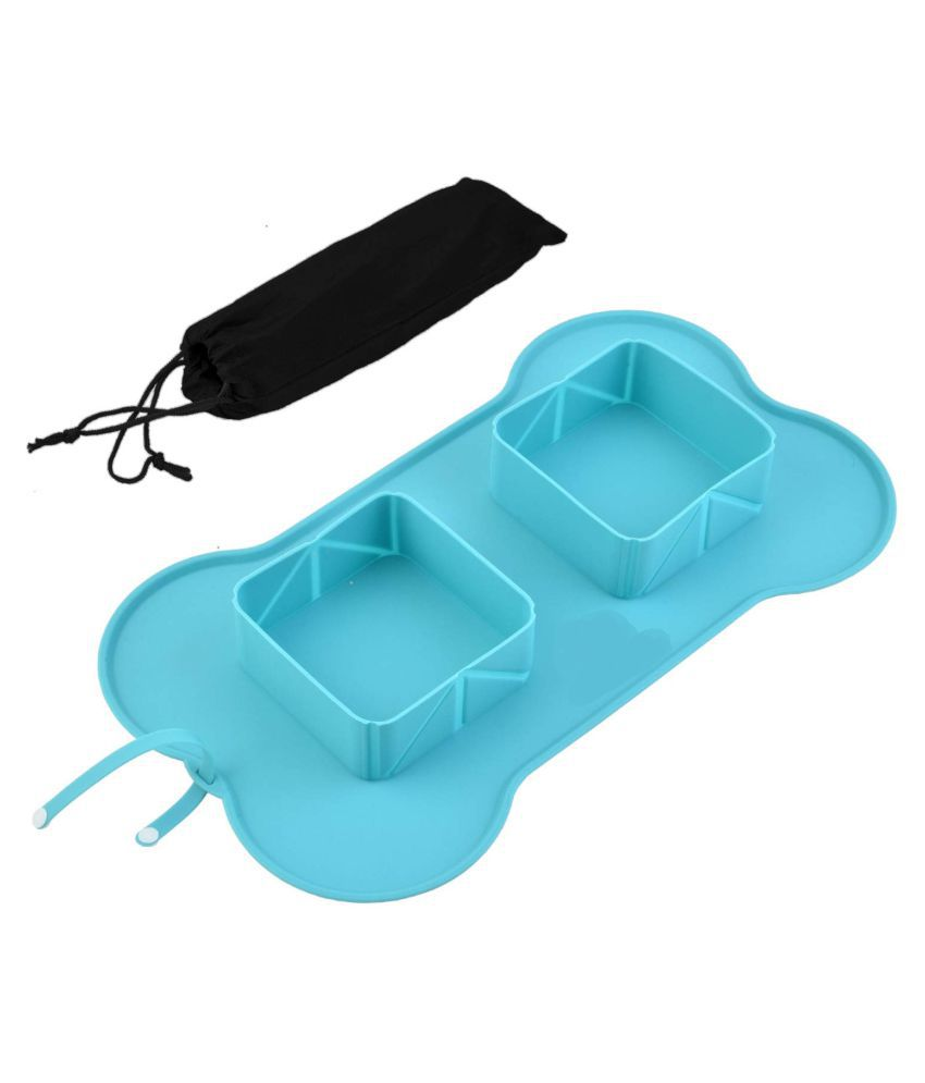 KOKIWOOWOO Foldable Dogs Bowl Silicone Double Bowls Dog Feeder Easy Cleaning Dog Feeding Portable for Travel, Rolling Non Slip No Skid Silicone Dog Bowl Square Silicone