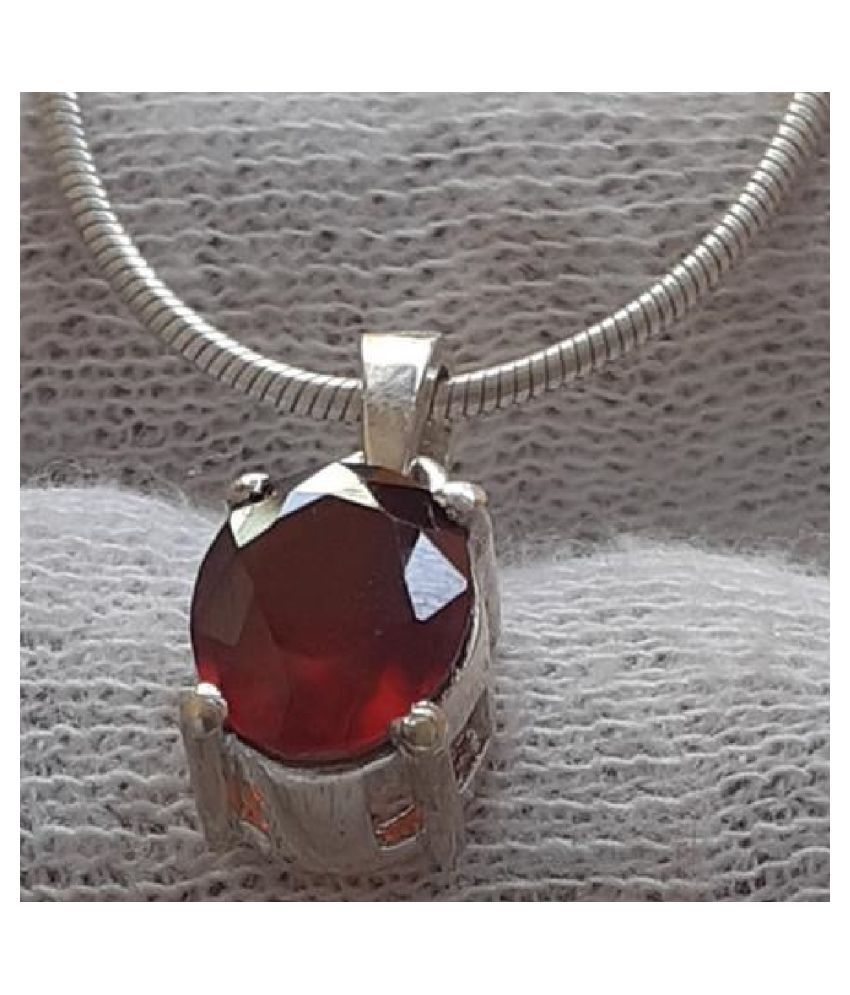 5.5 Carat Lab Certified silver Hessonite (Gomed)   Pendant for unisex by KUNDLI GEMS
