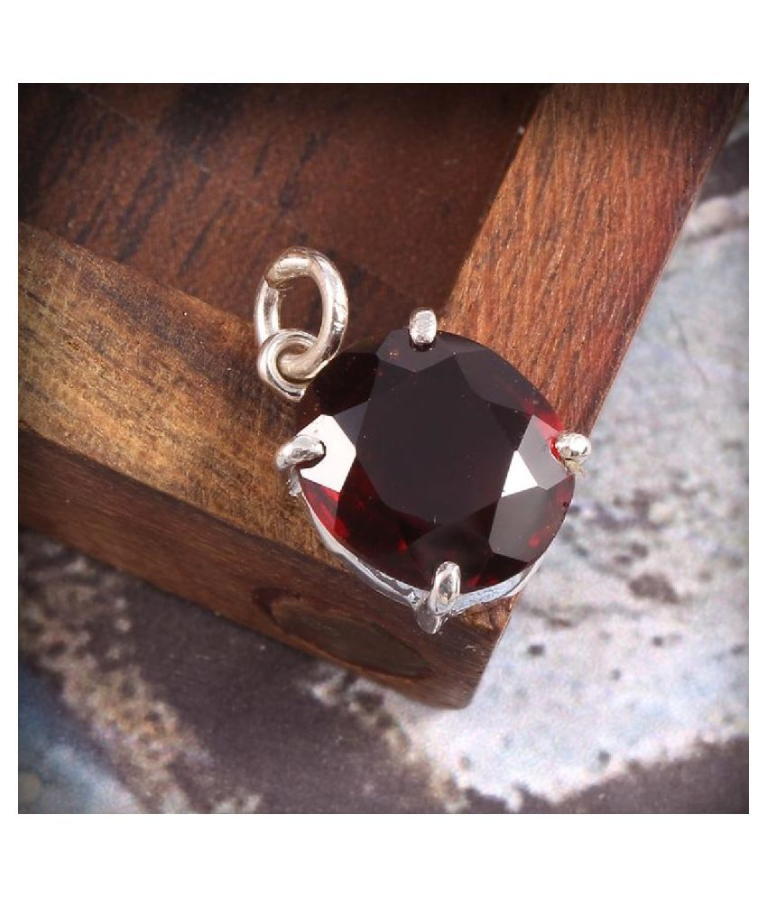 6.25 Ratti Hessonite (Gomed)  pure silver  Pendant for Unisex by  KUNDLI GEMS\n