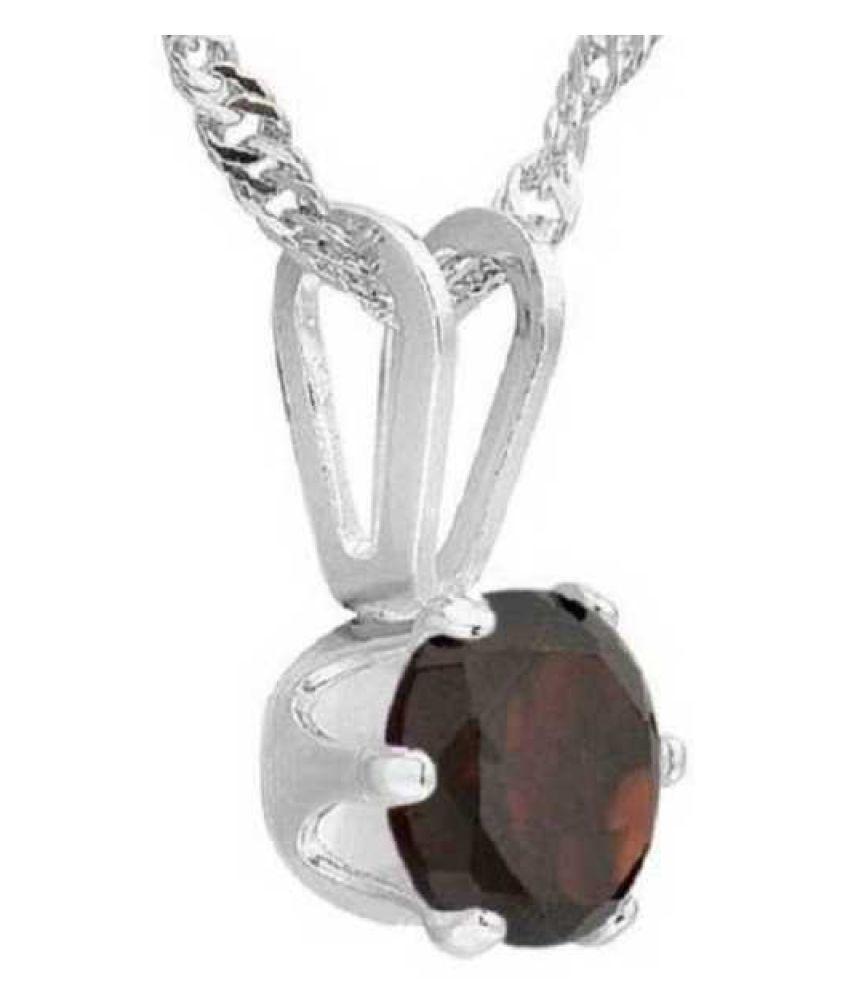 8 Carat Stone Hessonite (Gomed)  silver Pendant for unisex by KUNDLI GEMS\n