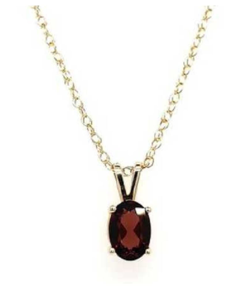 Hessonite (Gomed) Natural & Unheated Stone  7 Ratti Hessonite (Gomed) gold plated Pendant by KUNDLI GEMS