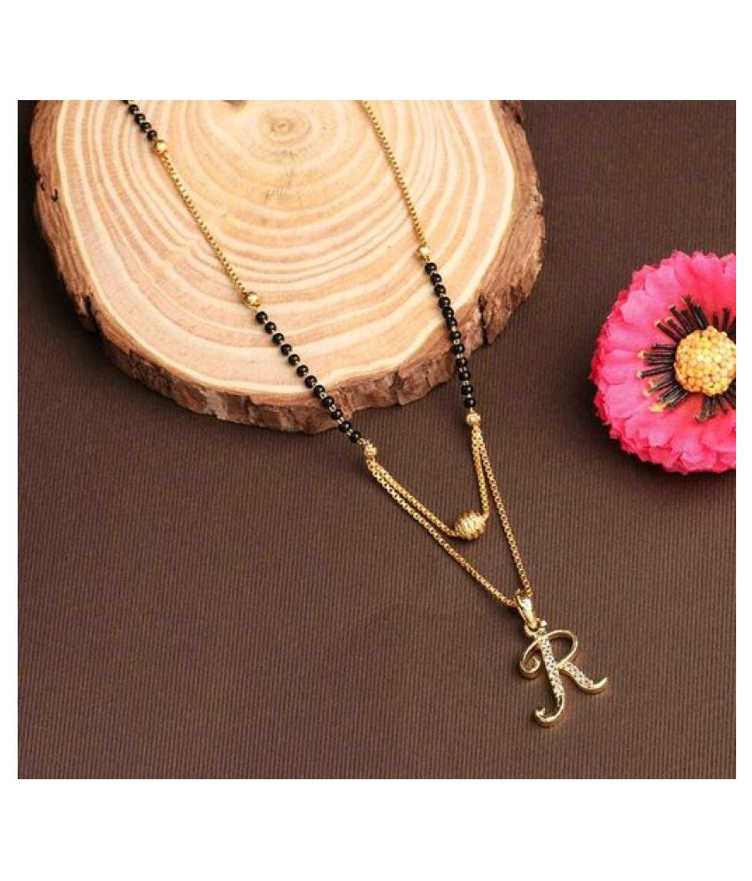 MD IMPEX American Diamond Jewellery Gold Plated Stylish Latest design Name 'R'