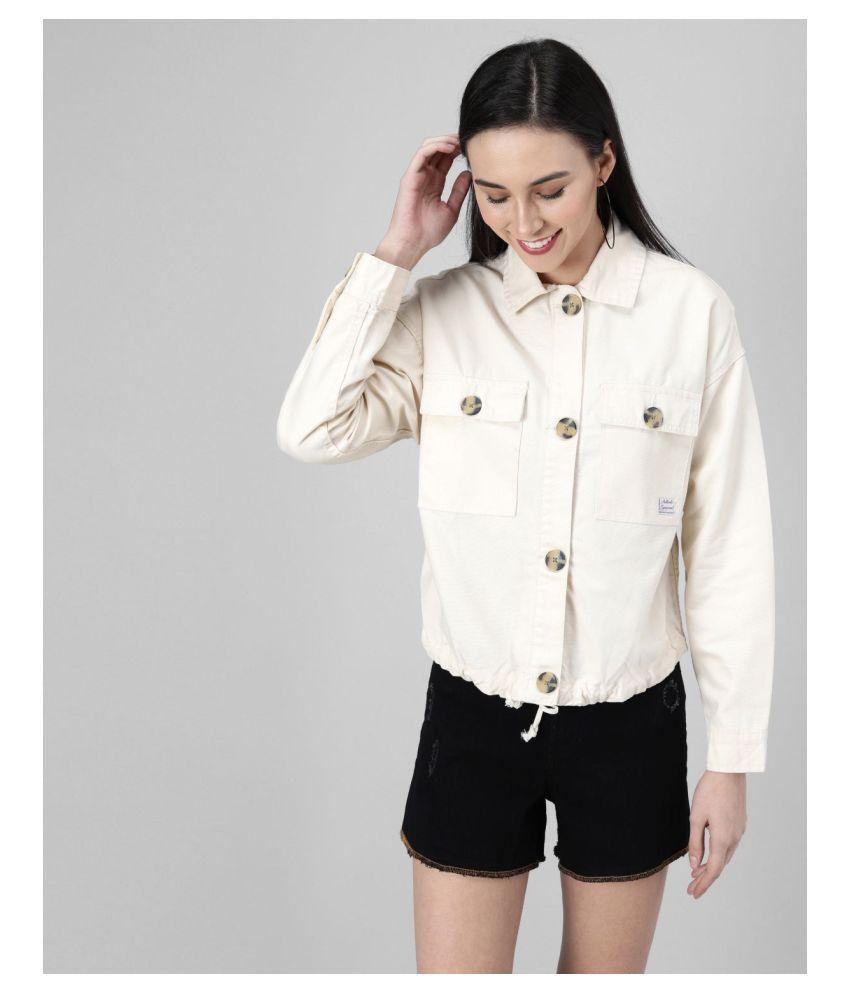 OVERS Cotton Blend Beige Jackets